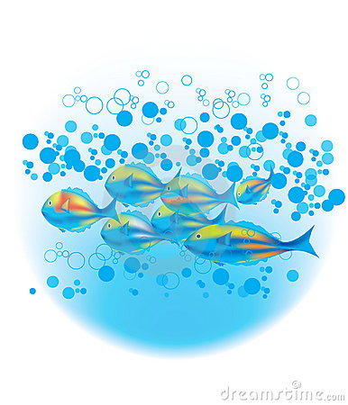 Fishes & blue bubbles
