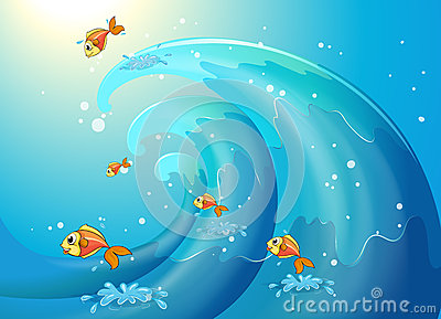 Fishes dancing along the big waves