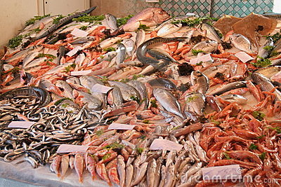Fishes on a market
