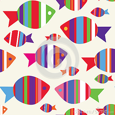 Fishes seamless funny pattern