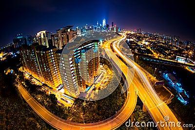 Fisheye Lens view of Kuala Lumpur City