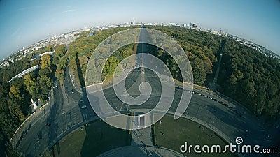Fisheye lens view from the Victory column towards main city landmarks of Berlin, Germany. Fisheye lens view from the Victory column towards main city landmarks stock video footage