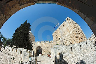 Fisheye view of an ancient citadel in Jerusalem