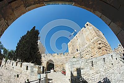 Fisheye view of an ancient citadel in Jerusalem