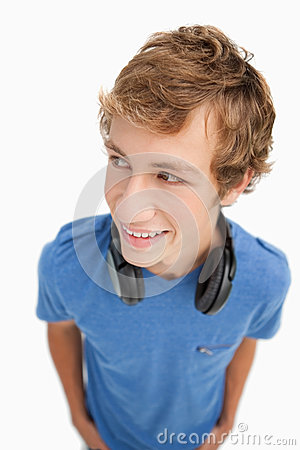 Fisheye view of a blond student with headphones