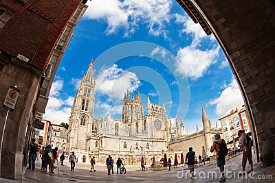 Fisheye view of Cathedral in Burgos, Spain Editorial Photo