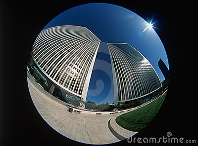 Fisheye view of Century City, Los Angeles, CA