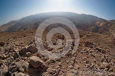 Fisheye view of the desert canyon