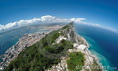 Fisheye view of Gibraltar rock, bay and town from