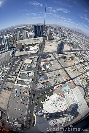 Fisheye view of Las Vegas Editorial Stock Photo