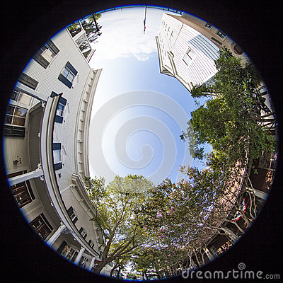 Free Fisheye View Of Small Town Business District Stock Image - 33557121