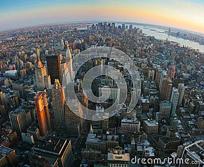 Fisheye view over lower Manhattan, New York