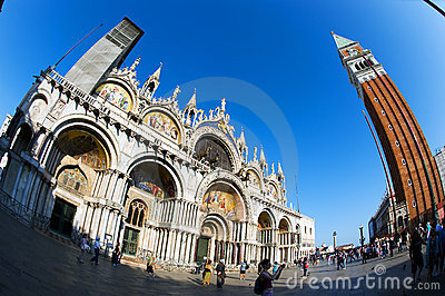 Fisheye View of San Marco Piazza in Venice Editorial Photo