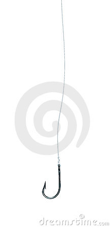 Fishhook on Fishing Line Isolated