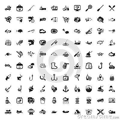 Free Fishing 100 Icons Set For Web Royalty Free Stock Photo - 62730405