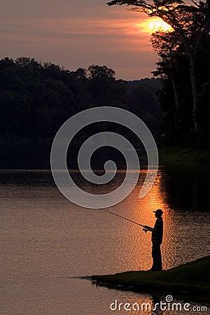 Free Fishing At Sunset Royalty Free Stock Image - 244516