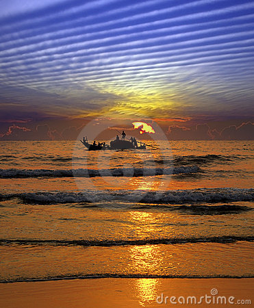 Free Fishing At Sunset In India Royalty Free Stock Photos - 13851658