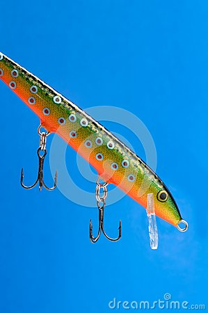 Fishing Bait (Wobbler) on Blue Background