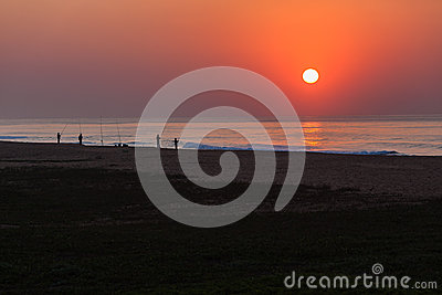 Fishing Beach Sunrise Editorial Stock Photo
