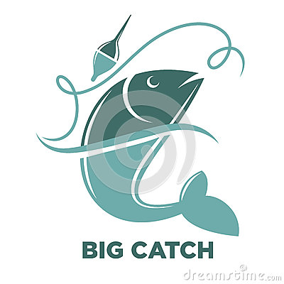 Fishing Big Fish Catch Vector Isolated Icon Template Cartoon Vector