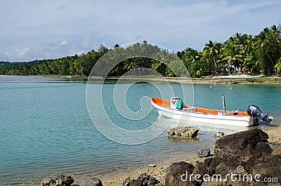 Fishing boat in Aitutaki Lagoon Cook Islands