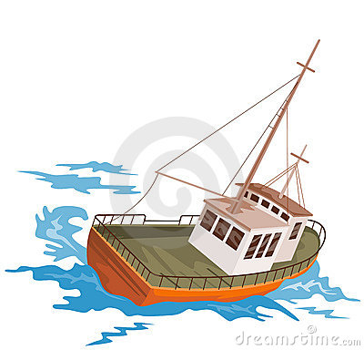 Fishing boat battling huge swe