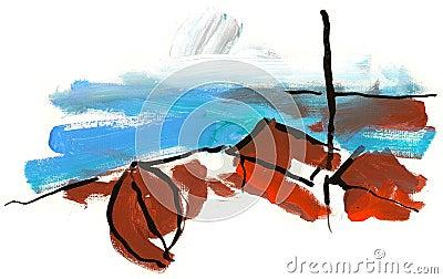 Fishing boat on beach in Norway