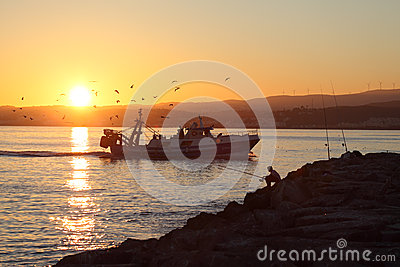 Fishing boat coming back home Editorial Stock Image