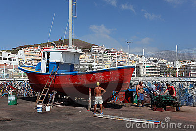 Fishing boat in drydock Editorial Image