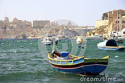 A Fishing boat in Grand Harbour, Malta