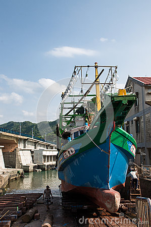 Fishing Boat in Keelung Taiwan Editorial Image