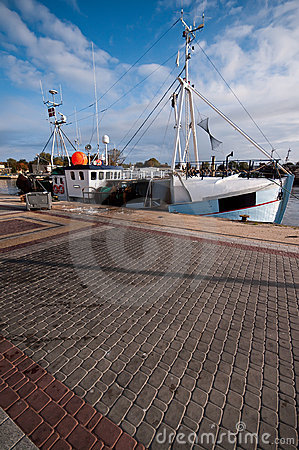 Fishing boat in Polish port.