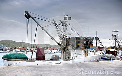 Fishing boat in port, harbor