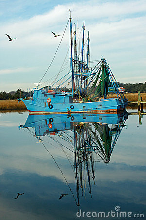 Free Fishing Boat Reflections Stock Photography - 12568272