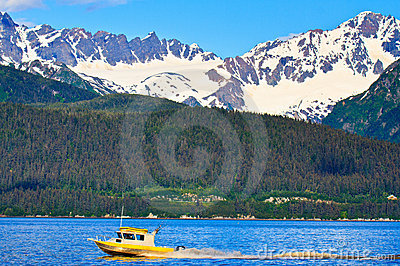 Fishing boat sailing in Resurrection bay, Alaska