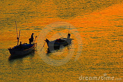 Fishing boat silhouettes Editorial Photo