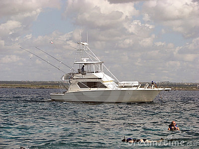 Fishing boat and snorkeling on the coral reef Editorial Photo