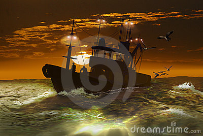 Fishing boat under the sunrise