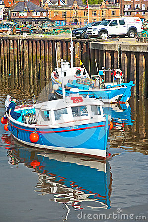 Fishing boat at Whitby: rods and lines Editorial Image