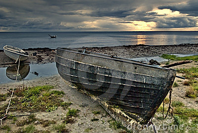 Fishing boats on beach of Baltic Sea, Latvia