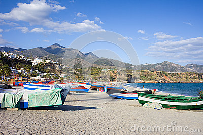 Fishing Boats on a Beach in Spain