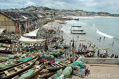Fishing boats on Cape Coast foreshore
