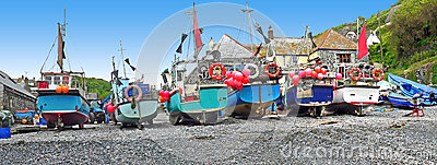 Fishing boats at the cornish coast