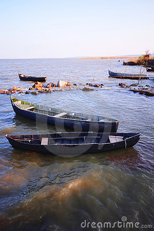 Fishing boats in Danube delta