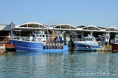 Fishing boats at Dieppe in France