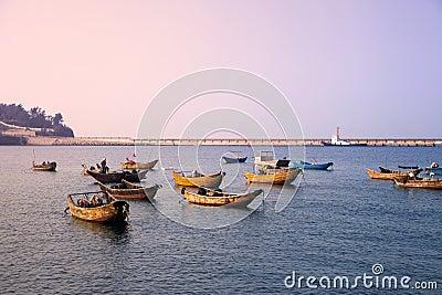 Fishing boats dock,Weizhou Island