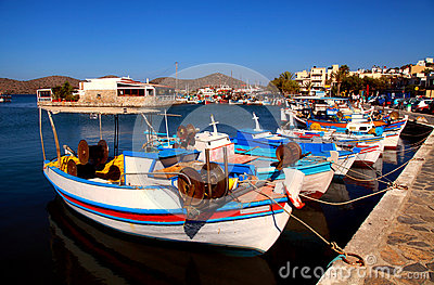 Fishing boats in Elounda (Crete, Greece).