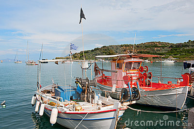 Fishing boats in Greek harbor