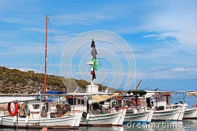 Fishing boats in Greek harbor