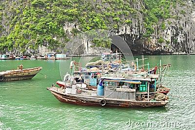 Fishing Boats in Halong Bay Editorial Image